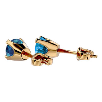 1ct Blue Diamond Stud Earrings in 14k Yellow Gold