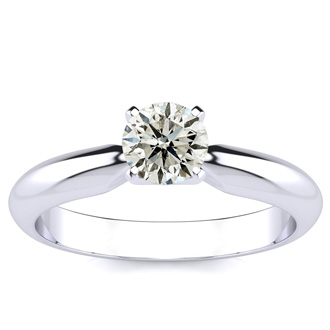 14k White Gold 1/2 Carat Diamond Solitaire Ring