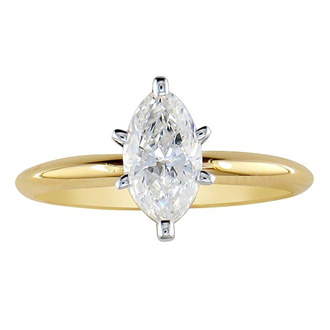 1/4 Carat Marquise Diamond Solitaire Ring In 10k Yellow Gold