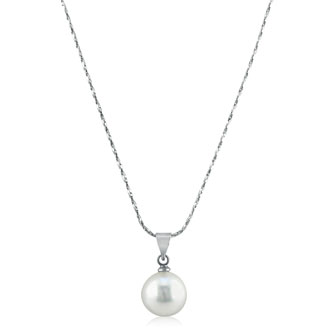 12mm Shell Single Pearl Pendant. Bg Vibrant, Shiny Pearl On A Nice 18 Inch Chain!