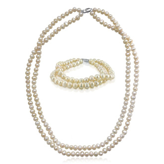 5-6mm 2 Piece Baroque Pearl Set with Necklace and Bracelet. Entry Level Quality