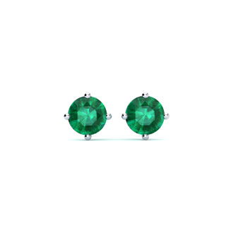 1/2 Carat Natural Emerald Stud Earrings in Sterling Silver