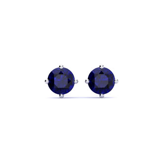 1/2 Carat Natural Blue Sapphire Stud Earrings in Sterling Silver