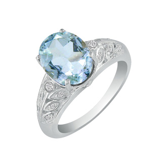 1 3/4ct Aquamarine and Diamond Ring in 14k White Gold