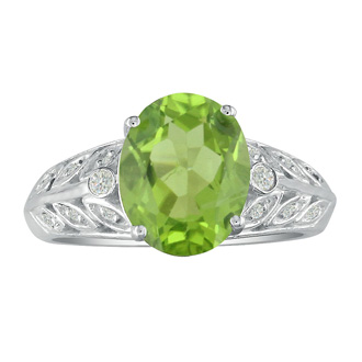 1 3/4ct Peridot and Diamond Ring in 14k White Gold. Fantastic Price!
