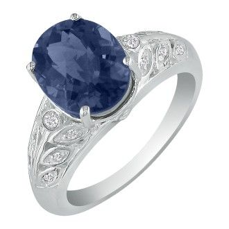 1 3/4ct Sapphire and Diamond Ring in 14k White Gold. Fantastic Price!