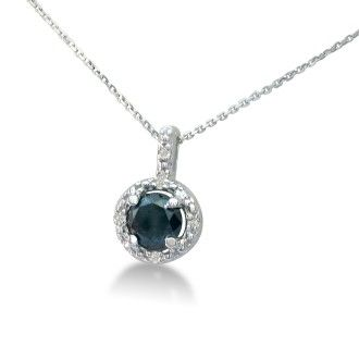 1/2ct White and Black Diamond Pendant in Sterling Silver