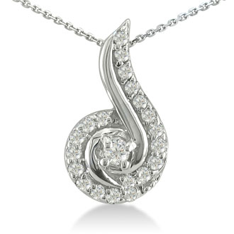 1/4ct Swirling Diamond Pendant in 10k White Gold