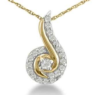 1/4ct Swirling Diamond Pendant in 10k Yellow Gold