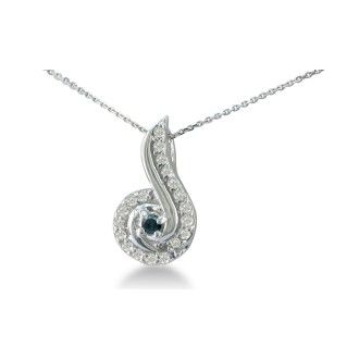 1/4ct Swirling White and Black Diamond Pendant in 10k White Gold