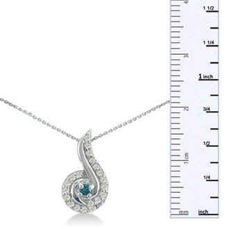 1/4ct Swirling White and Blue Diamond Pendant in 10k White Gold