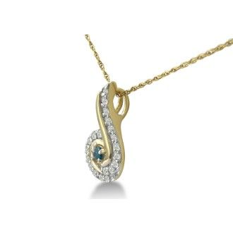 1/4ct Swirling White and Blue Diamond Pendant in 10k Yellow Gold