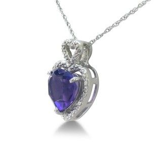 1 3/4ct Amethyst and Diamond Heart Pendant in 10k White Gold