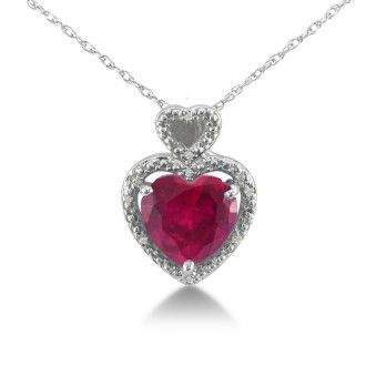 1 3/4ct Ruby and Diamond Heart Pendant in 10k White Gold