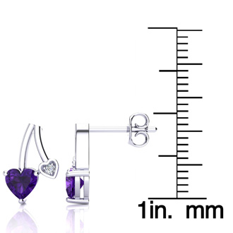 3/4ct Amethyst and Diamond Heart Earrings In 10k White Gold