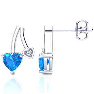 3/4ct Blue Topaz and Diamond Heart Earrings In 10k White Gold