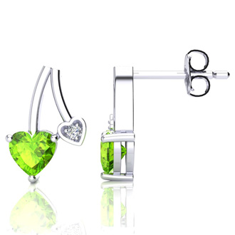 3/4ct Peridot and Diamond Heart Earrings In 10k White Gold