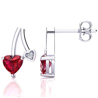 3/4ct Created Ruby and Diamond Heart Earrings In 10k White Gold