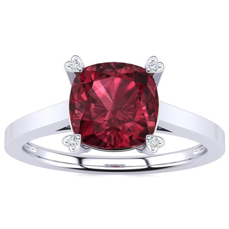 2ct Cushion Cut Garnet and Diamond Ring in 10K White Gold