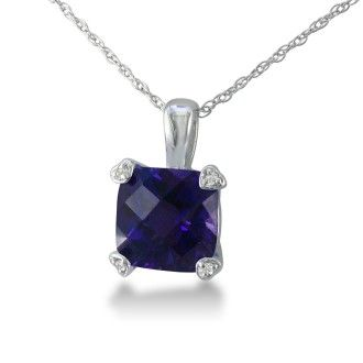 2ct Cushion Amethyst and Diamond Pendant in 10k White Gold