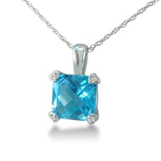 2ct Cushion Blue Topaz and Diamond Pendant in 10k White Gold
