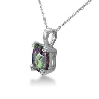 2ct Cushion Mystic Topaz and Diamond Pendant in 10k White Gold
