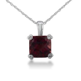 2ct Cushion Garnet and Diamond Pendant in 10k White Gold