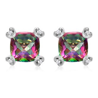 2ct Cushion Mystic Topaz and Diamond Earrings in 10k White Gold