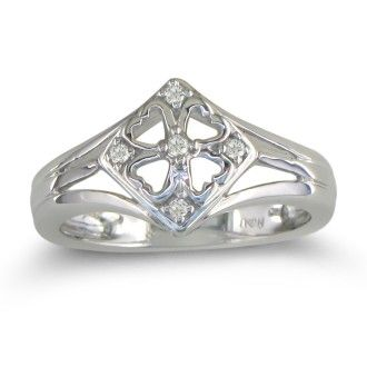 .04ct Right Hand Diamond Ring in Sterling Silver