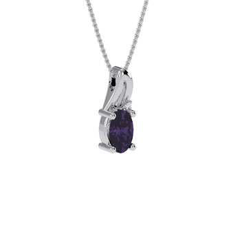 1/2ct Oval Shape Amethyst and Diamond Necklace in 10k White Gold