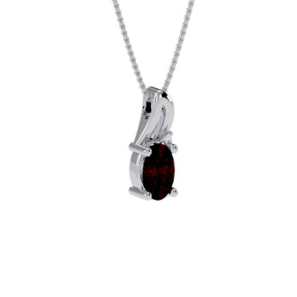 1/2ct Oval Shape Garnet and Diamond Necklace in 10k White Gold