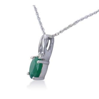 1/2ct Oval Emerald and Diamond Pendant in 10k White Gold