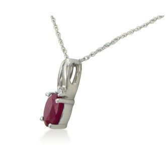 1/2ct Oval Shape Created Ruby and Diamond Necklace in 10k White Gold