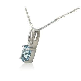 1/2ct Oval Aquamarine and Diamond Pendant in 10k White Gold