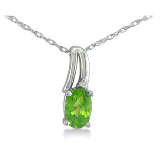 1/2ct Oval Shape Peridot and Diamond Necklace in 10k White Gold