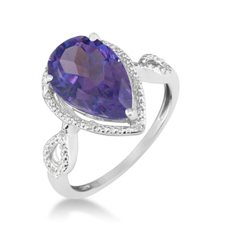 3 1/2ct Pear Shaped Amethyst and Diamond Ring in 10k White Gold