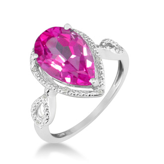 3 1/2 Carat Pear Shaped Pink Topaz and Diamond Ring in 10k White Gold