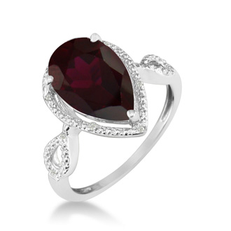 3 1/2ct Pear Shaped Garnet and Diamond Ring in 10k White Gold