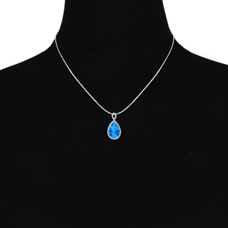 3 1/2ct Pear Shaped Blue Topaz and Diamond Necklace In 10K White Gold