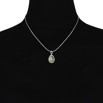 3 1/2ct Pear Shaped Mystic Topaz and Diamond Necklace In 10K White Gold