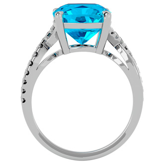 4ct Cushion Cut Blue Topaz and Diamond Ring in 10k White Gold