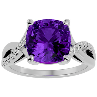4ct Cushion Cut Amethyst and Diamond Ring in 10k White Gold