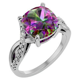 4 Carat Cushion Cut Mystic Topaz and Diamond Ring in 10k White Gold