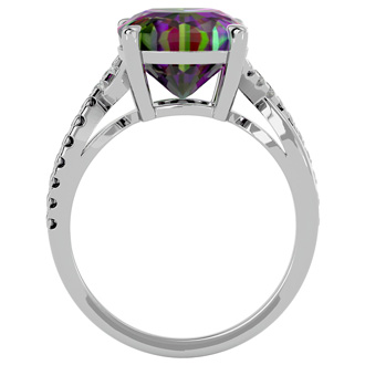 4ct Cushion Cut Mystic Topaz and Diamond Ring in 10k White Gold