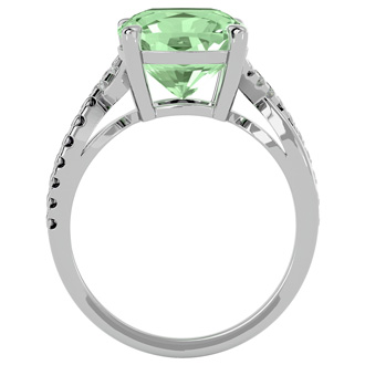 4ct Cushion Cut Green Amethyst and Diamond Ring in 10k White Gold