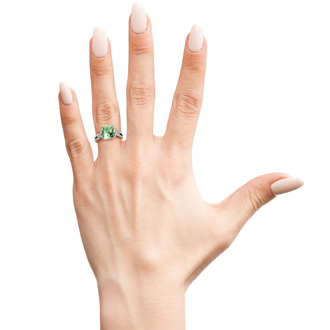 4 Carat Cushion Cut Green Amethyst and Diamond Ring in 10k White Gold