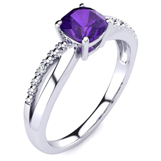 3/4ct Cushion Cut Amethyst and Diamond Ring In 10K White Gold
