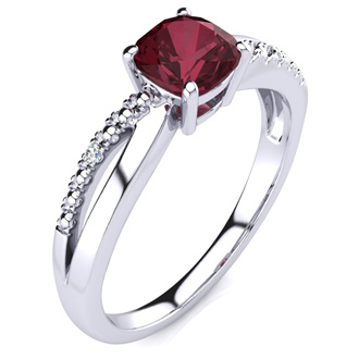 3/4ct Cushion Cut Garnet and Diamond Ring In 10K White Gold