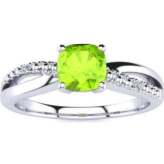3/4ct Cushion Cut Peridot and Diamond Ring In 10K White Gold