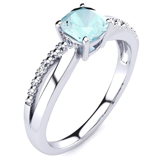 3/4ct Cushion Cut Aquamarine and Diamond Ring in 10k White Gold